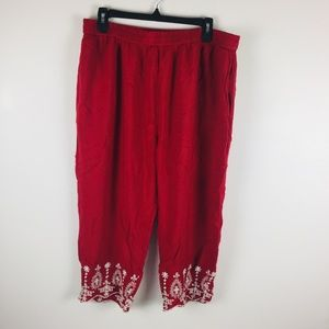 Woman Within Red Embroidered Rayon Cropped Pants L